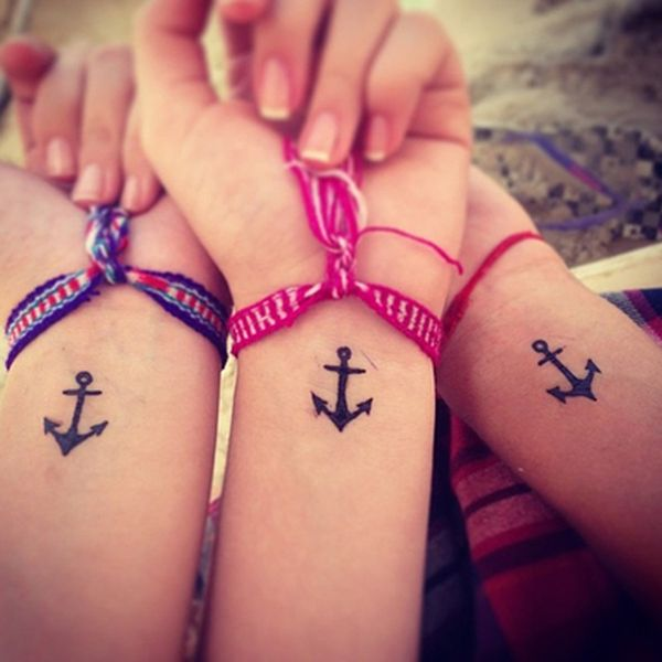 small anchor henna tattoo design on wrist