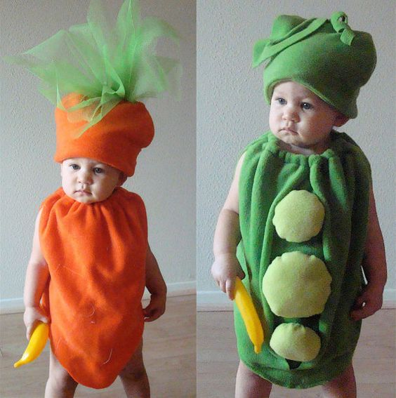diy Peas and Carrots Baby-Toddler halloween Costumes ideas