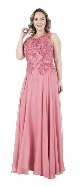 light colors sleeveless pink long length embroider floral top plus size prom dress
