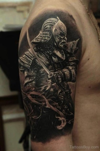 3D Samurai Armor Tattoo On Half Sleeve