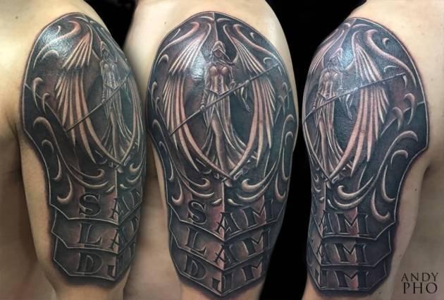 Angel Armor Tattoo On Shoulder