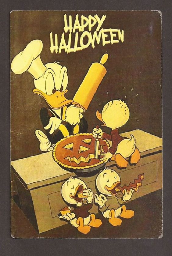 Disney Happy Halloween Donald Cutting Pumpkin Postcard