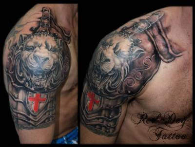 Lion Armor Half Sleeve Tattoo For Men