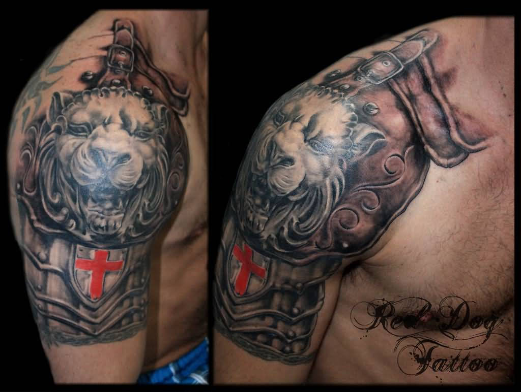 lion armor half sleeve tattoo for men | entertainmentmesh