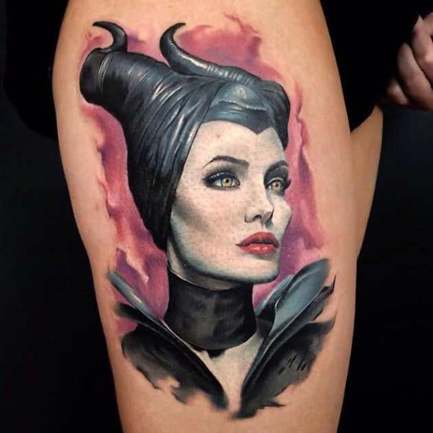 Maleficent Tattoo design on thigh