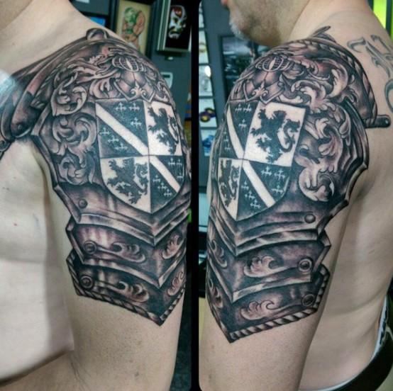 Shield Armor Tattoo On Shoulder For Men
