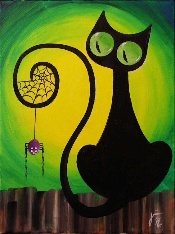 Spooky Cat painting