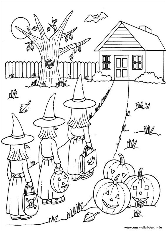 Witch coloring pages free printable Halloween trick or treat color pages