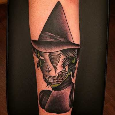 artistic wizard of oz witch tattoo