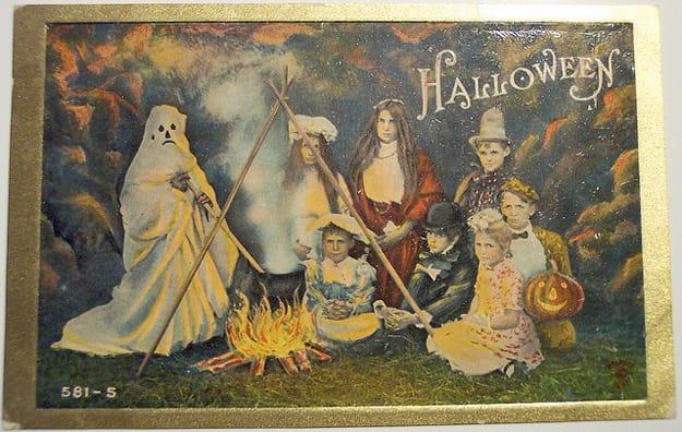 bizarre vintage halloween postcard