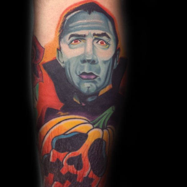 dracula-pumpkin-arm-tattoo