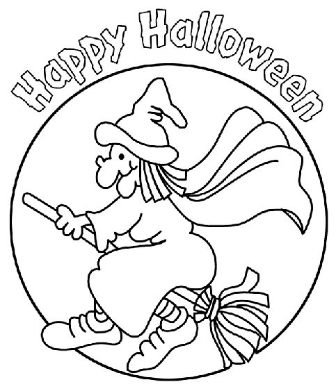 easy Halloween Witch drawing coloring pages