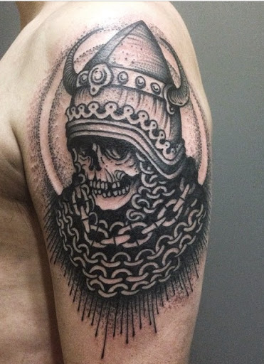 koh phi phi skull tattoo on half sleeve