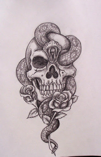 snake skull tattoo design sketch