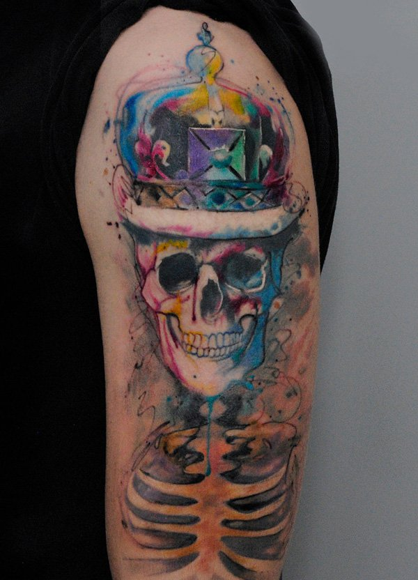 watercolor skull full sleeve tattoo