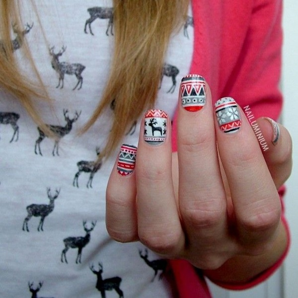 Aztec Pattern Winter Manicure