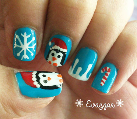 Cool Winter Holiday Nail Design