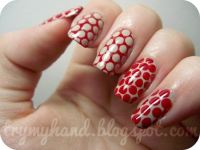 Red Colour Polka Dots Nail-Art