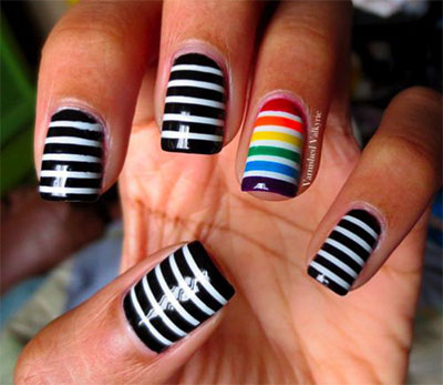 colorful black and white striped nails