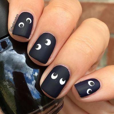 easy spooky eyes nail art Halloween
