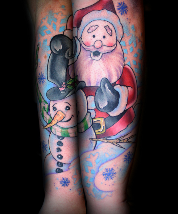 snowman and Santa Claus Christmas tattoo