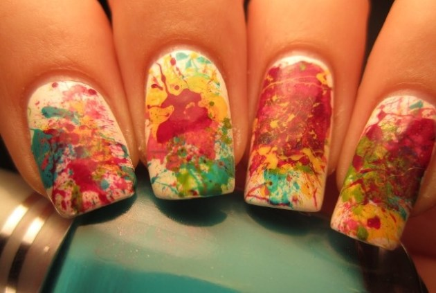 splattered nail art
