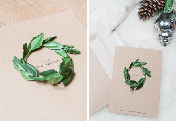 homemade Christmas cards with natural greenery wreath