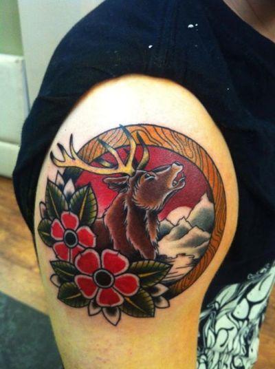 old school neo traditional elk tattoo
