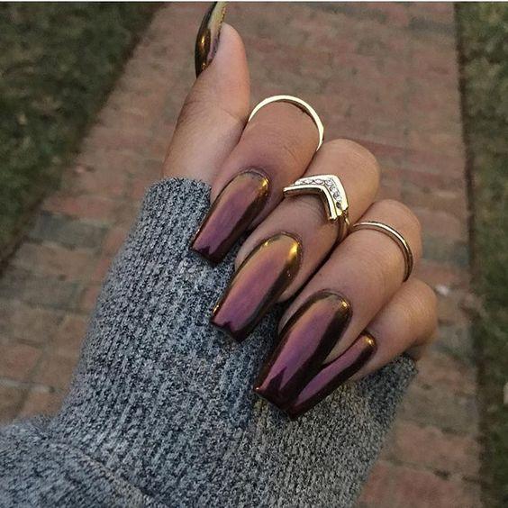 Plum Holographic nails