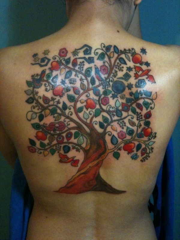 Sioux tree of life tattoo with 12 fruits