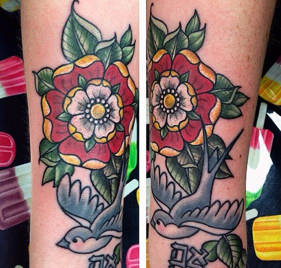 tudor rose flower traditional tattoo