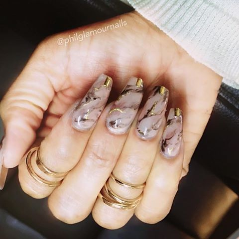 Brown Marble Nails