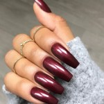 maroon coffin nails