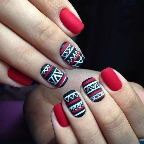 6 Aztec Tribal nail design
