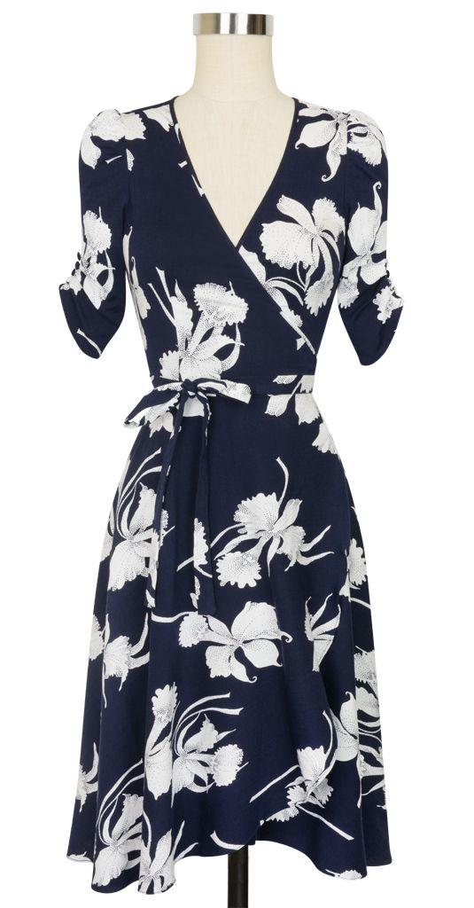 Classic Retro Style White Floral Dark Navy Wrap Dress