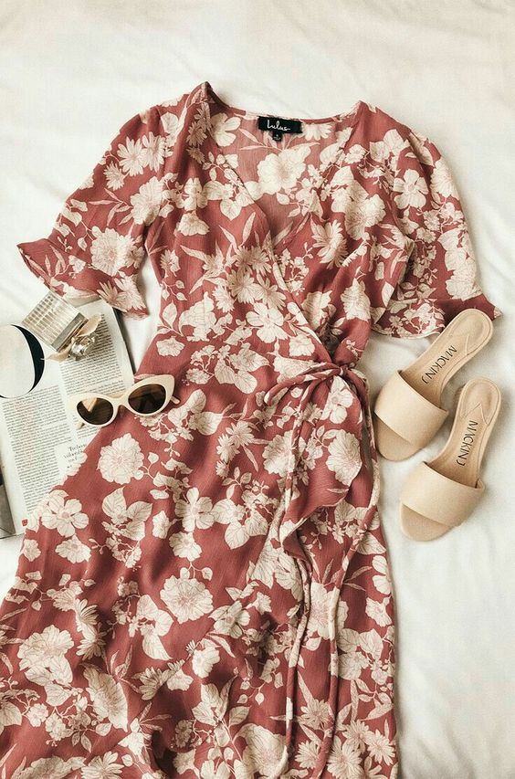 Floral Print High-Low Wrap Dress