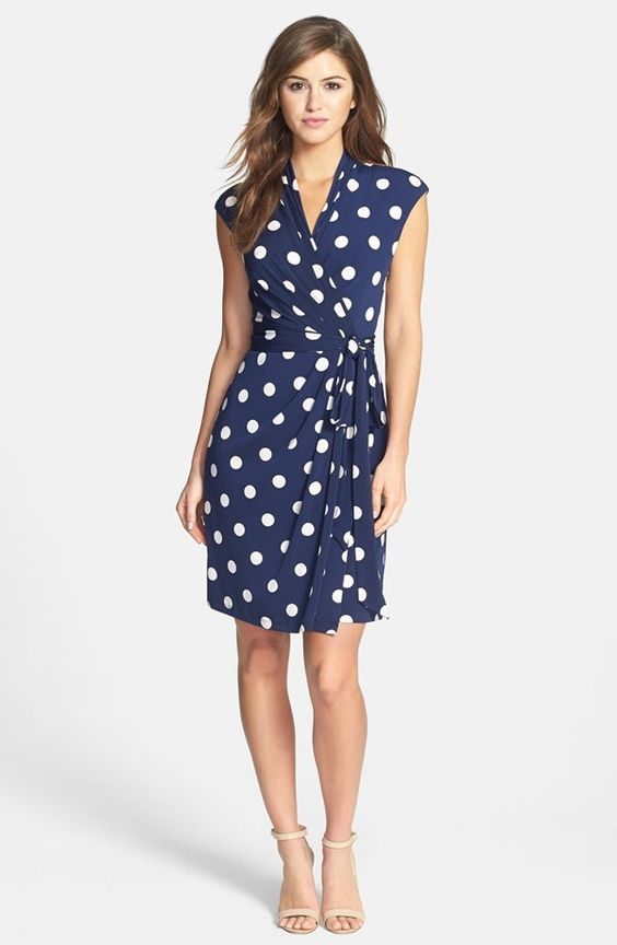 Navy Blue Polka Dot Wrap Dress