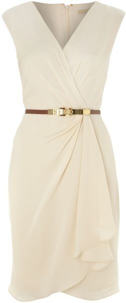 Striped Beige Professional Work Dress Skirt