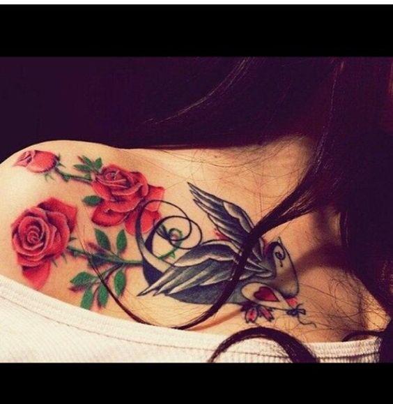 Doves & Roses collarbone tattoo