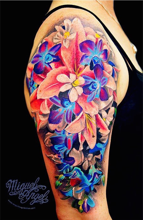 bright color flowers tattoo on sleeve