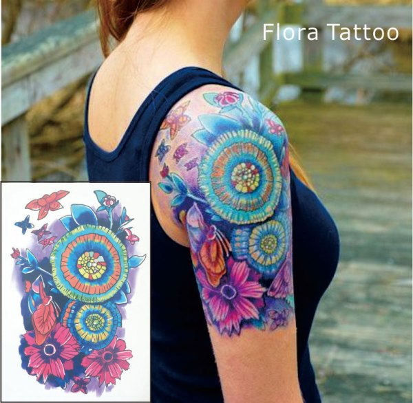 colorful floral mandala tattoo on sleeve