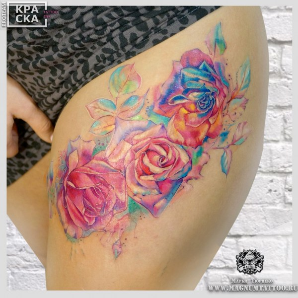 colorful rose flowers tattoo on thigh