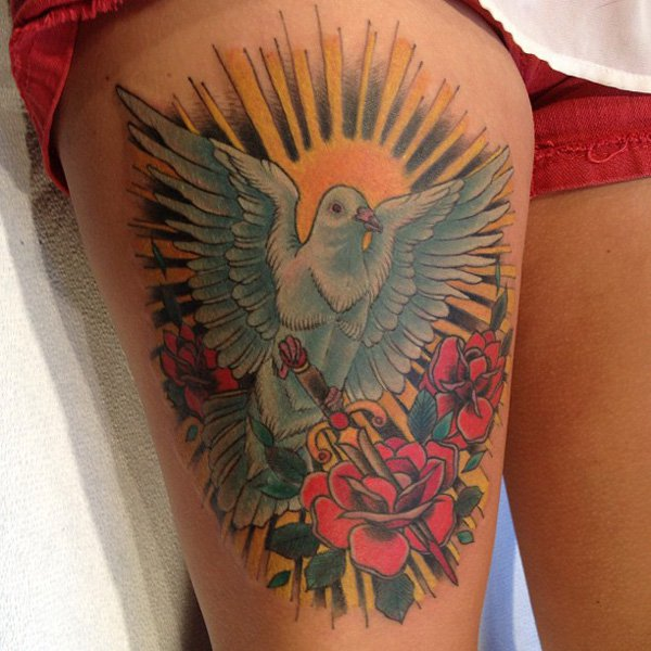 dove with dagger roses and sun tattoo