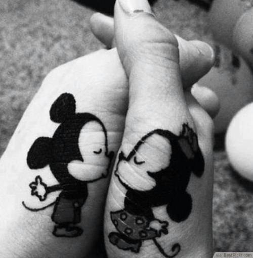 mickey and minnie kissing tattoo