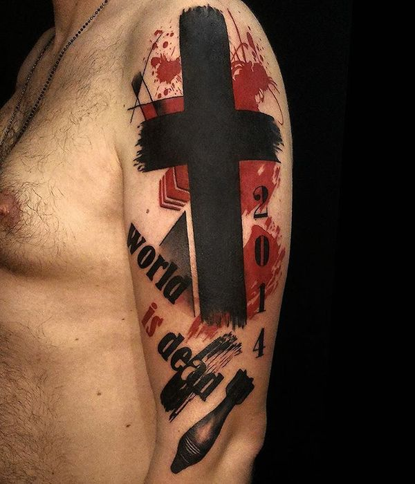 trash polka cross tattoo design on upper sleeve