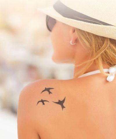 back shoulder birds tattoo for women