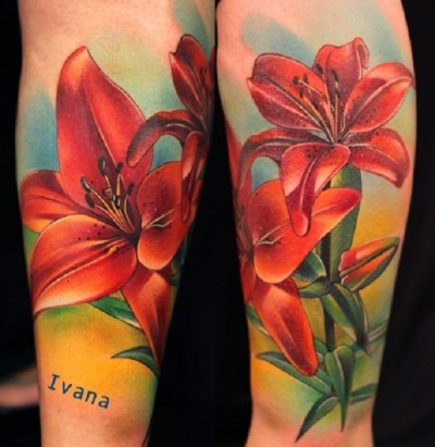 Gorgeous Colorful Tiger Lily Tattoo on both arm