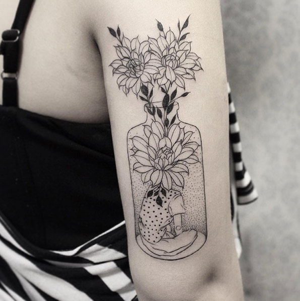 beautiful nostalgic flower vase tattoo