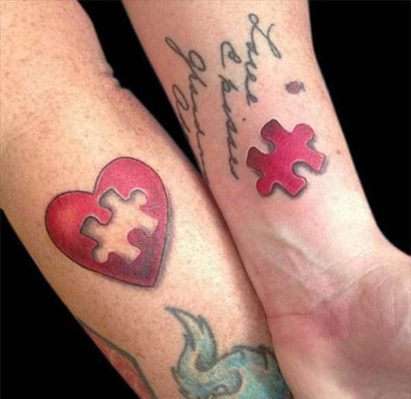 cute friendship tattoo ideas heart puzzle piece