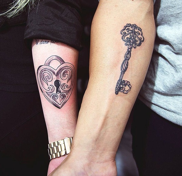 lock and key tattoo designs for couple